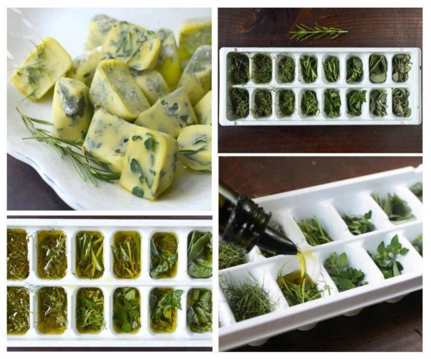 Freeze Fresh Herbs in Olive Oil for Winter